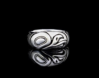 Eagle Ring, sterling silver, recycled sterling silver band, heavy silver ring