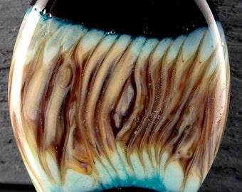 Raku on Copper Green Focal Handmade Glass Lampwork Bead Pendant by Laurie Geller..SRA