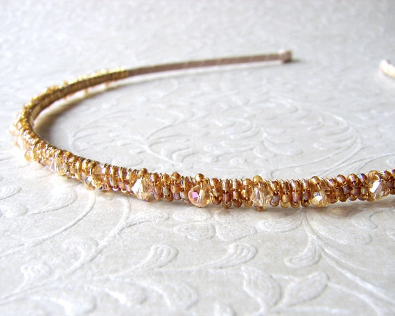 Thin Gold Beaded Headband Swarovski® Crystal Diadem Aurora Borealis Champagne Wedding Amber Bohemian Chic Bride Formal Prom Hair Accessories