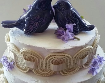 Purple Wedding Love Birds Wedding Cake Topper Ceramic Birds Hugging Purple Home Decor Purple Gift