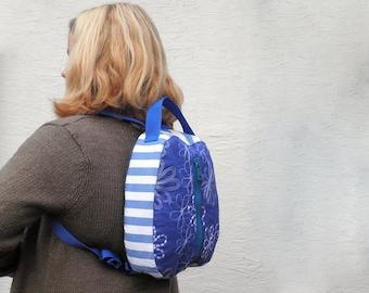 Small Blue Backpack - Backpack Purse - Small Backpack - Fabric Backpack - Rucksack Bag