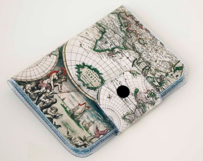 Handmade Vinyl Passport Case - Vintage Maps 2 / traveller, passport, vinyl, gift, womans, mens, wallet, map, atlas, retro, adventurer