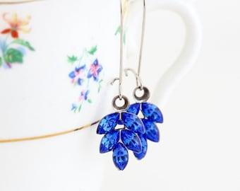 Blue Rhinestone Earrings - Blue Crystal Earrings - Cobalt Blue Earrings - Bridesmaid Gifts - Vintage Crystals - Elegant Blue Earrings
