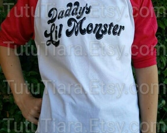 Order by 10/28 for Delivery on Halloween, Harley Quinn Suicide Squad Unisex Daddy's Lil Monster Youth XXS 2/3 - XL 14/16 Shirt Only