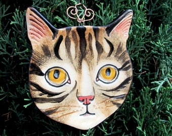 Brown Tabby Cat with yellow eyes Ceramic hanging ornament