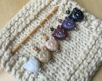 6 Cutie Cat Stitch Markers - Crochet or Knit - You Choose