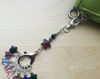 8 Knit or Crochet Stitch Markers with Holder - Star Charmers