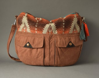 The TUNDRA Leather Bag /// slouchy brown leather bag with southwestern fabric and tassel