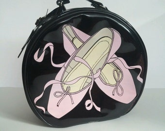 Vintage FAO Schwartz rare vinyl ballet bag by Luggies 1989 dance shoes luggage pink