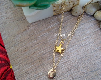 Layering gold Moon stars necklace-tiny star,Moon necklace-multi strand tiny gold pendant-boho.simple jewelry.charm necklace-constellation