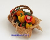 12th scale handmade miniature basket of sweet peppers