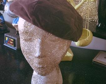 SALE Vintage 1930s Hat brown beret velvet Old Hollywood 1940s