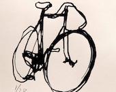 Bicycle Art Print - BSA Track Bike  Black on Cream