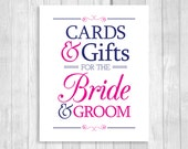 Printable Cards & Gifts for Bride and Groom 8x10 Navy Blue and White and Hot Pink, Fuschia Card Box Wedding Sign - Instant Download