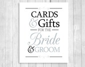 Printable Cards & Gifts for Bride and Groom 8x10 Black and White and Silver/Gray Card Box Wedding Sign - Instant Download