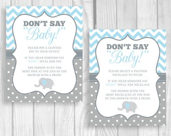 Printable Don't Say Baby! 5x7 or 8x10 Clothes Pin or Pacifier Necklace Elephant Baby Shower Game - Light Blue and Gray- Instant Download