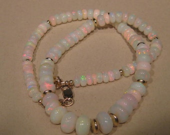 Natural Ethiopian Opal  necklace ......... Goldfill ........    20 inch ........            e865