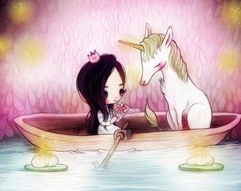 He Loves Me- 5 x 7 Print - swan kawaii girl nursery whimsical purple sunset love cute illustration art clouds