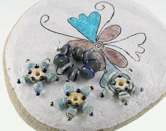 Handmade Lampwork Blue Star Beads