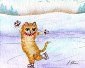 Ice skating ginger cat signed print in three different sizes 5x7 or 8x10 or 11x14 inches skater snowy scene landscape fir trees Susan Alison