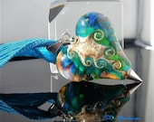Aquaheart - lampwork heart - made by ISR - Glasdesign