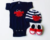 High quality Nautical Baby Set, Crab Bodysuit, Booties and Hat Set, boys baby clothing, clothing, baby shower gift set, newborn baby set