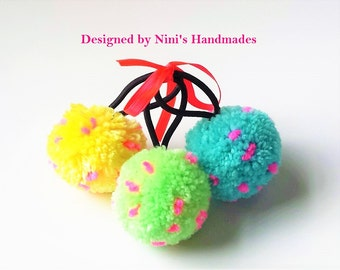 Ready to Ship reusable 3  Pom Pom hair holders with Hot pink sprinkles, Ponytail Holder Set, Hair Accessories, replacable Hair elastic