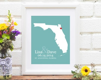 Florida Wedding Gift, Florida Map Art Print, Custom Wedding Gift, Newly Engaged Gift For Couple, Anniversary Gift - 8x10 Art Print