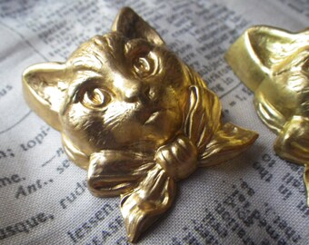Ms. Kitty Dainty Cat Vintage Brass Stampings 67x32mm 4 Pcs