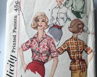 Simplicity 4056, Vintage Pattern, Women's Blouse, 1960's Blouse.