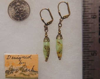 Vintage art glass and solid brass beaded pierced or clip on earrings