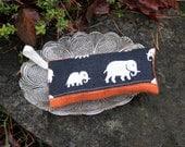 Lavender sachet in linen with elephant print black and orange