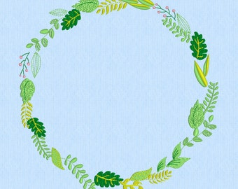 Spring Wreath Shabby Chic Greenery- Machine Embroidery Pattern - large 8 inches by 8 inches