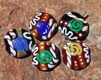 Vintage Ali VandeGrift Alive Lampwork Beads - Set of 5 - DESTASH of koregons artist bead collection