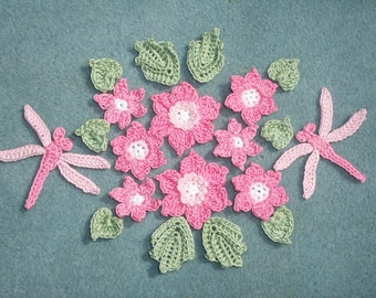 thread crochet applique flowers, leaves, and dragonflies  --2499