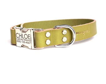 Green Leather Classic Personalized Dog Collar