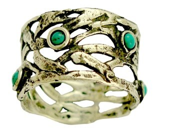 Wide ring, tribal Band, sterling silver ring, turquoise ring, Tibetan ring, multistone ring, mothers ring, thumb ring - Spice girl. R1378