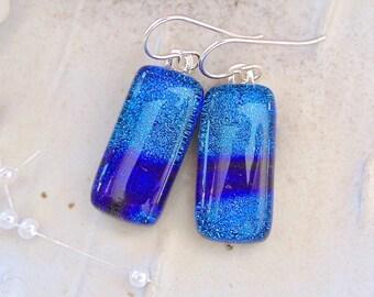 Blue Earrings, Teal, Purple, Dichroic Earrings, Glass Earrings, Dangle, Sterling Silver, A10
