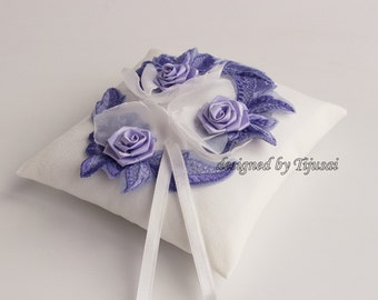 Wedding ring pillow with small flowers---wedding rings pillow , wedding pillow