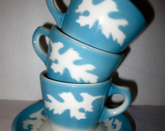 Syracuse China - Oakleigh Pattern Coffee Cup and Saucer Blue Airbrushed Oak leaves Diner 60s Restaurantware Heavyweight China