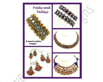 Beadweaving Tutorial, Bracelet Pattern, Superduo, 2-hole Tiles, Earring Tutorial, Necklace Pattern, .pdf Instructions for Personal Use