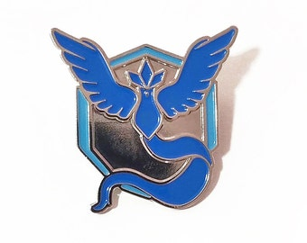 Team Mystic Pokemon GO! Silver and Blue Metal Lapel Pin Back Badge