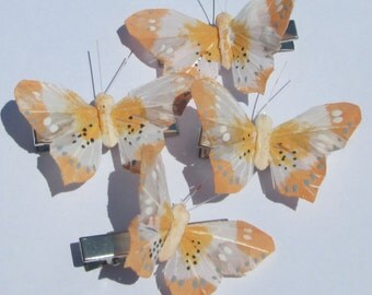 soft orange and white feather butterfly hand made hair clip by Ziporgiabella
