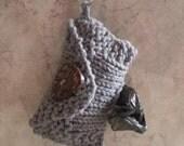 Dog Poop Bag Dispenser Knit Cotton Poop Bag Holder Grey Color Handknit Cotton Knit Fabric Coconut Button Carabiner Clasp 1 or 2 Roll Holder