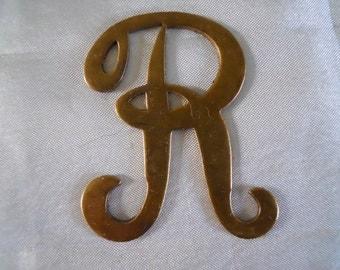 Vintage Brass Initial Monogram Letter R Stamping