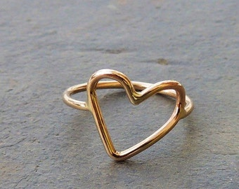 Gold Heart Ring - Midi Ring heart ring gold jewelry Gift For Her Bridesmaid jewelry