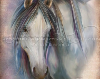 Eira...Mustang Wildlife Horse Study... Print - Your Choice of Size - Gray White Stallion Art Painting