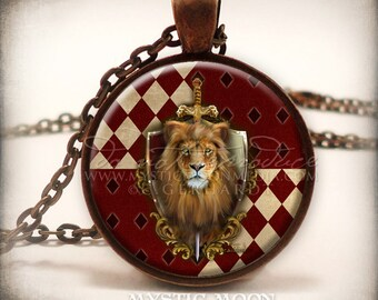 Bravery - Gryffindor Inspired Art Pendant and Necklace-Inspired by Hogwarts House Gryffindor - Harry Potter