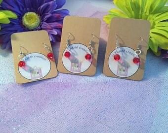 Red Jewel Fishhook Wire Earrings