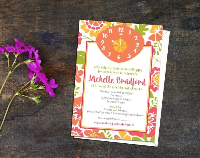 Around the Clock Bridal Shower Invitation, Fun funky Bridal Shower, Bright Cheerful Bridal Shower or Event Invitation